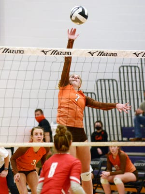 Meadowbrook sophomore Camden Black goes up for a kill during Meadowbrook's Division II regional semifinal loss to Sheridan on Thursday at Pickerington North.