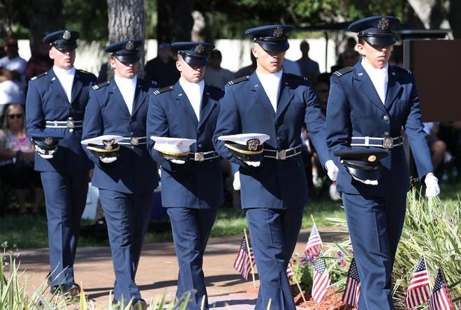Embry-Riddle Aeronautical University ROTC candidates participate in a Veterans Day ceremony in 2019 at Davies Lighthouse Park in Ponce Inlet. Events will be much different this year due to the coronavirus pandemic.