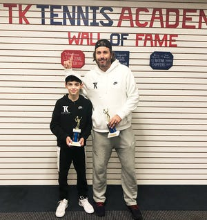 Waymart tennis star Tristan Vivona and Coach Todd Kane celebrate the 12-year-old's latest USTA triumphs at TK Tennis Academy.