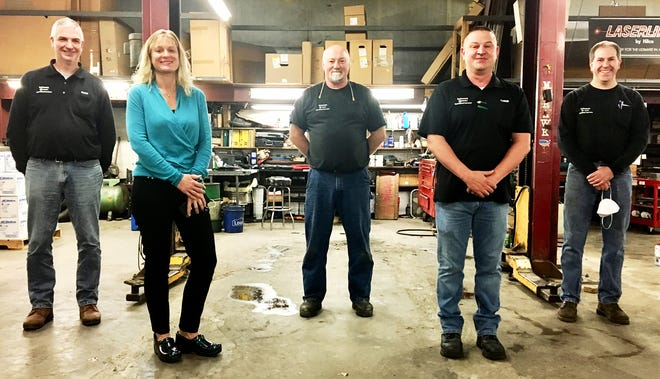 Several employees at Edward J. Schwarz recently celebrated milestones with the local family-owned company, which has been a fixture in Honesdale since 1932. Pictured here are (from left): Sean McElroy, Jaclyn Rogers, Jeff Abbott, Chris Shire, Derek Murray.
