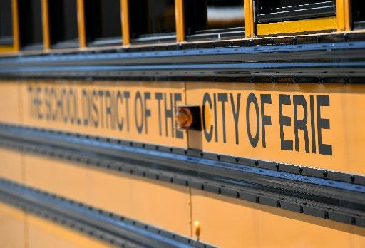 Erie School District buses will be idle as the district has suspended in-person classes for another week. Remote learning will continue for at least the week of Jan. 4, 2021.