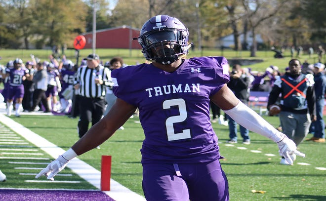 Jordan Salima, a Truman High School graduate, celebrates after scoring a touchdown for Truman State University during his college career. Salima, after a strong career with NCAA Division II Truman State, is now playing in the new professional development league, The Spring League, with the Conquerors.