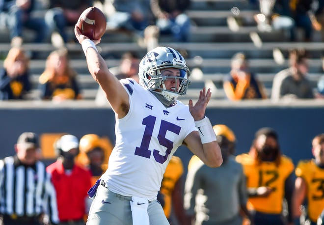 Kansas State quarterback Will Howard (15) passes against West Virginia last week.