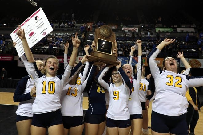 Notre Dame celebrates winning the Iowa Class 1A State Volleyball Championship Thursday in Cedar Rapids. Photo gallery and story to follow.