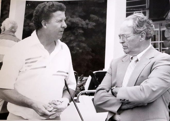 Omer Cormier is shown interviewing Gardner native and PGA Tour Player Bob Menne at Pleasant Valley Country Club in Sutton in 1976.