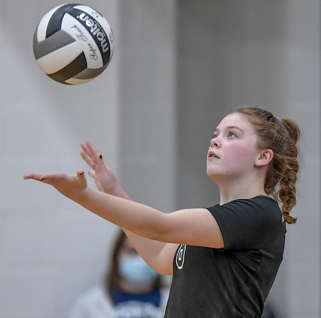 Nordonia setter Riley Monroe serves up the ball during the Knights' 25-14, 21-25, 25-23, 25-18 loss to Massillon Jackson Nov. 5 in a Division I regional semifinal game at Hudson.