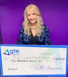 GTE Foundation official Tania Pratt  presented a check virtually to Polk County Adult Schools recently.