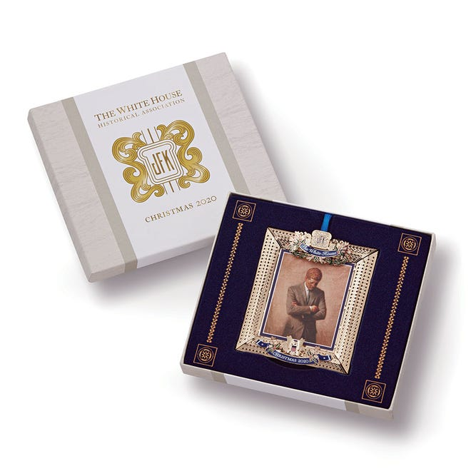The 2020 Official White House Historical Association Kennedy Ornament, left, and Women's Right to Vote ornament, right, can be purchased with proceeds benefitting the AAUW scholarship fund.