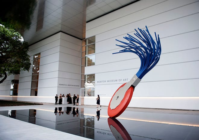 "The ""Typewriter Eraser, Scale X,"" 1999, by Claes Oldenburg and Coosje van Bruggen welcomes guests of the Norton Museum, which will reopen  Nov. 20 after being closed for almost eight months because of the COVID-19 pandemic. [Meghan McCarthy/palmbeachdailynews.com]"