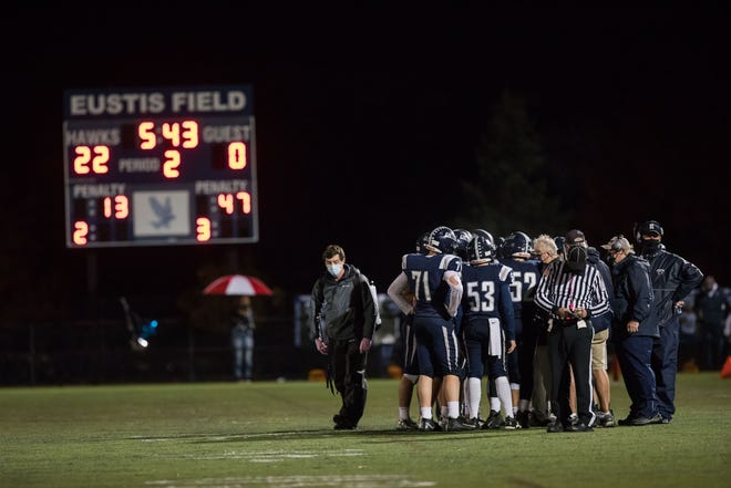 Saturday's Division I football quarterfinal game between Exeter and Winnacunnet was canceled due to a positive case of COVID-19 at Exeter High School. Winnacunnet will advance in the state playoffs via forfeit.