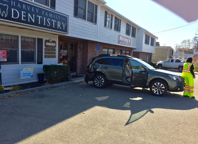 A driver crashed into the Harvey building on Islington Street in Portsmouth's West End on Friday, Nov. 6, 2020.