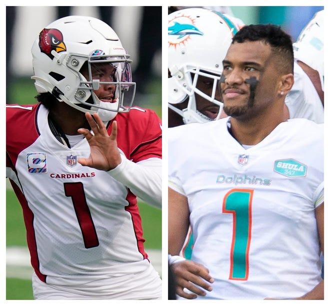 Cardinals quarterback Kyler Murray, left, will match up with Dolphins quarterback Tua Tagovailoa on Sunday.