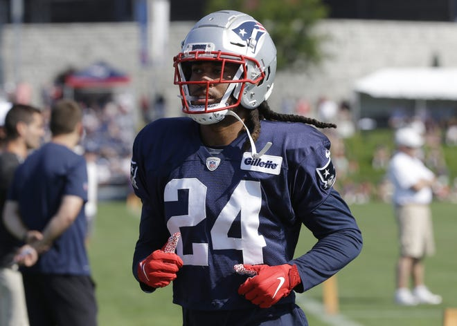 New England Patriots cornerback Stephon Gilmore during an NFL football training camp practice, Sunday, July 28, 2019, in Foxborough, Mass.