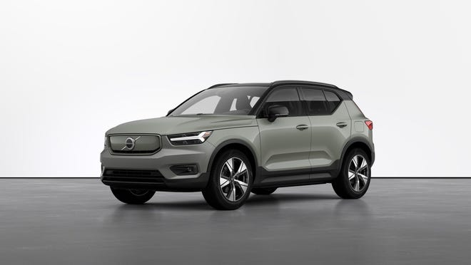 The 2021 Volvo XC40 Recharge P8 is a purely electric small crossover sport utility vehicle.