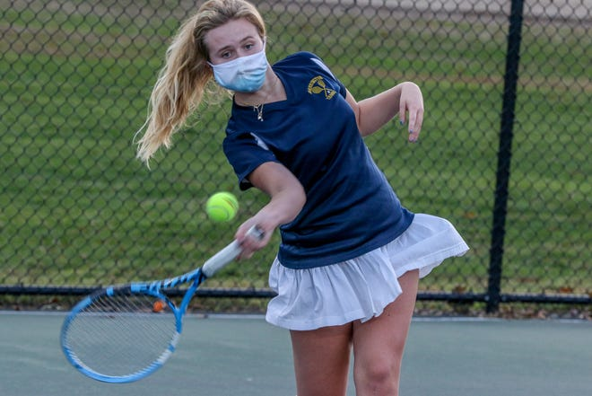 Caroline Maher (from action earlier this season) and the Barrington girls tennis team were victorious in Monday's Division I quarterfinal match against Cumberland, sending the Eagles to the D-I semifinals against Wheeler.
