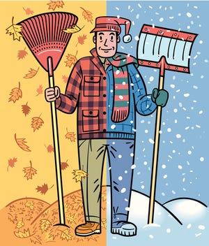 An illustration of raking leaves and shoveling snow.