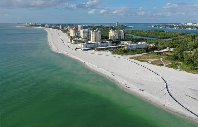The Lido Beach renourishment project, which began in August, is expected to be completed by May of next year. The sand placement portion of the project is expected to end later this month, according to a City of Sarasota spokesman.