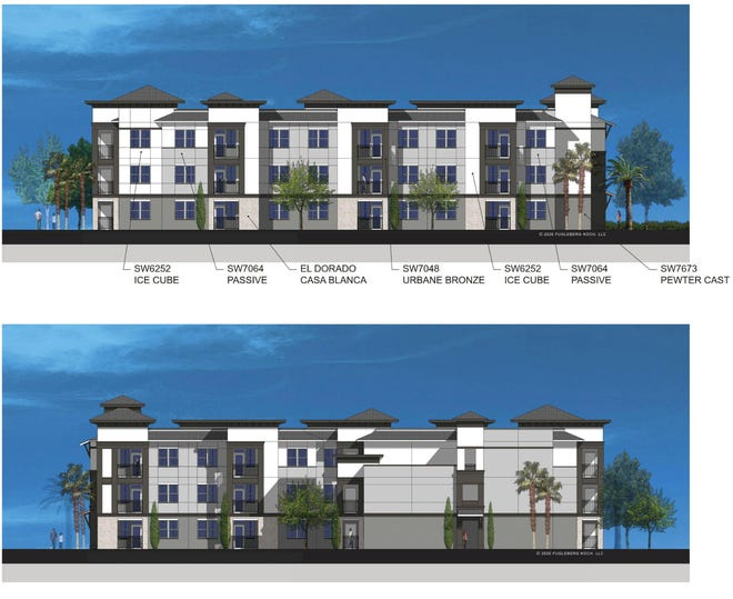These renderings show a typical apartment building for Arbor Park, a proposed 136-unit senior apartment complex that would be funded in part through the State Apartment Incentive Loan funding program.
