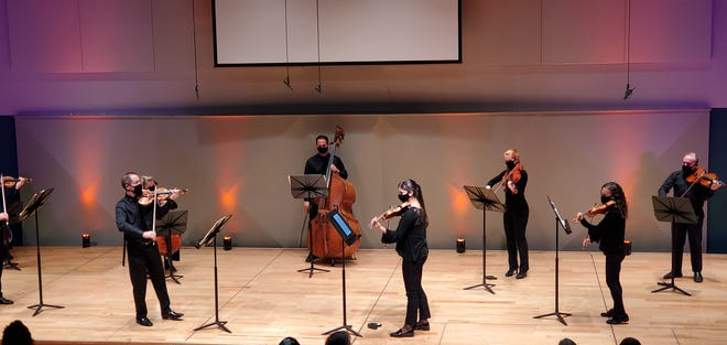 Concertmaster Daniel Jordan, left, and principal second violin Samantha Bennett, center right, were featured soloists in the opening chamber concert of the new Sarasota Orchestra season.