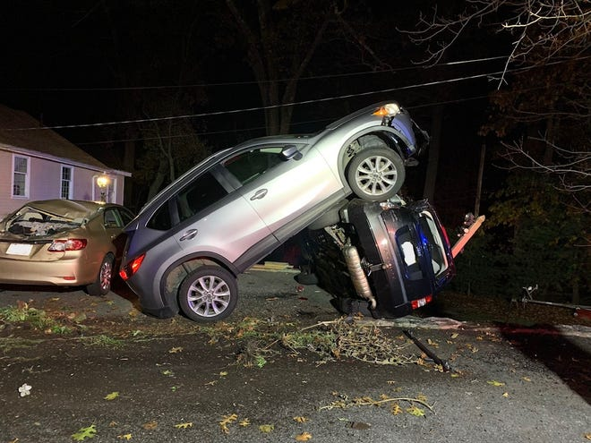The driver of this SUV escaped injury in this crash on South Quinsigamond Avenue in Shrewsbury late Thursday. No one was in the other vehicles.