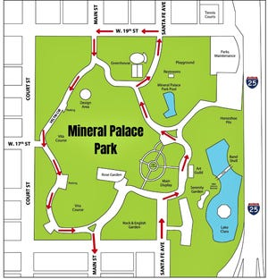 Motorists who want to honor veterans are asked to enter Mineral Palace Park through Santa Fe Avenue.