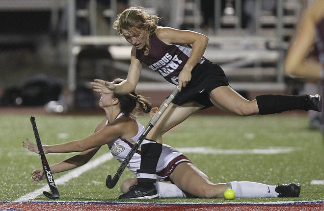 Columbus Academy's Regan Cornelius and Watterson's Anne Marie Ruess collide during a state semifinal Nov. 5 at Thomas Worthington. The Vikings lost 1-0 in double overtime. Cornelius was one of nine seniors in the program.