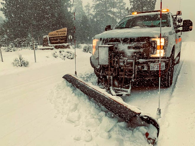 The first snowfall of the year is expected in mountain regions of San Bernardino and Riverside counties this weekend as a storm front is expected to create gusty winds and showers in the High Desert.