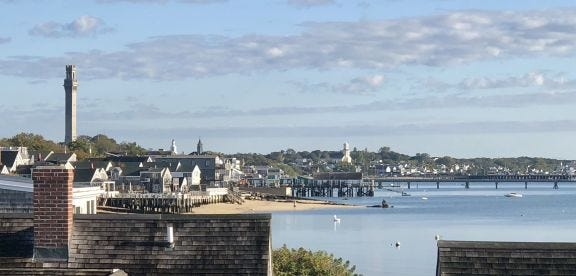 The west end of Provincetown Harbor was calm as can be on this October day in 2019, but was quite the opposite during the Portland Gale of 1898, when dozens of vessels piled up on the flats.