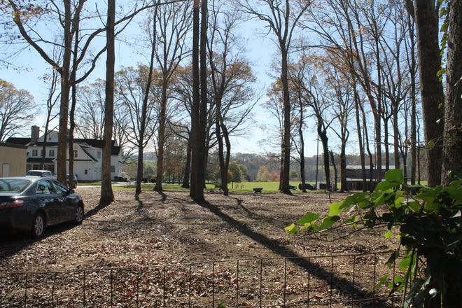 The Venue at Mills River, seen from Bettye Dorn's backyard. The white house is a lodging area for 30 people, and the barn to the right is an event space. The town board of adjustment will decide June 8 whether or not to approve a conditional use permit for the property.