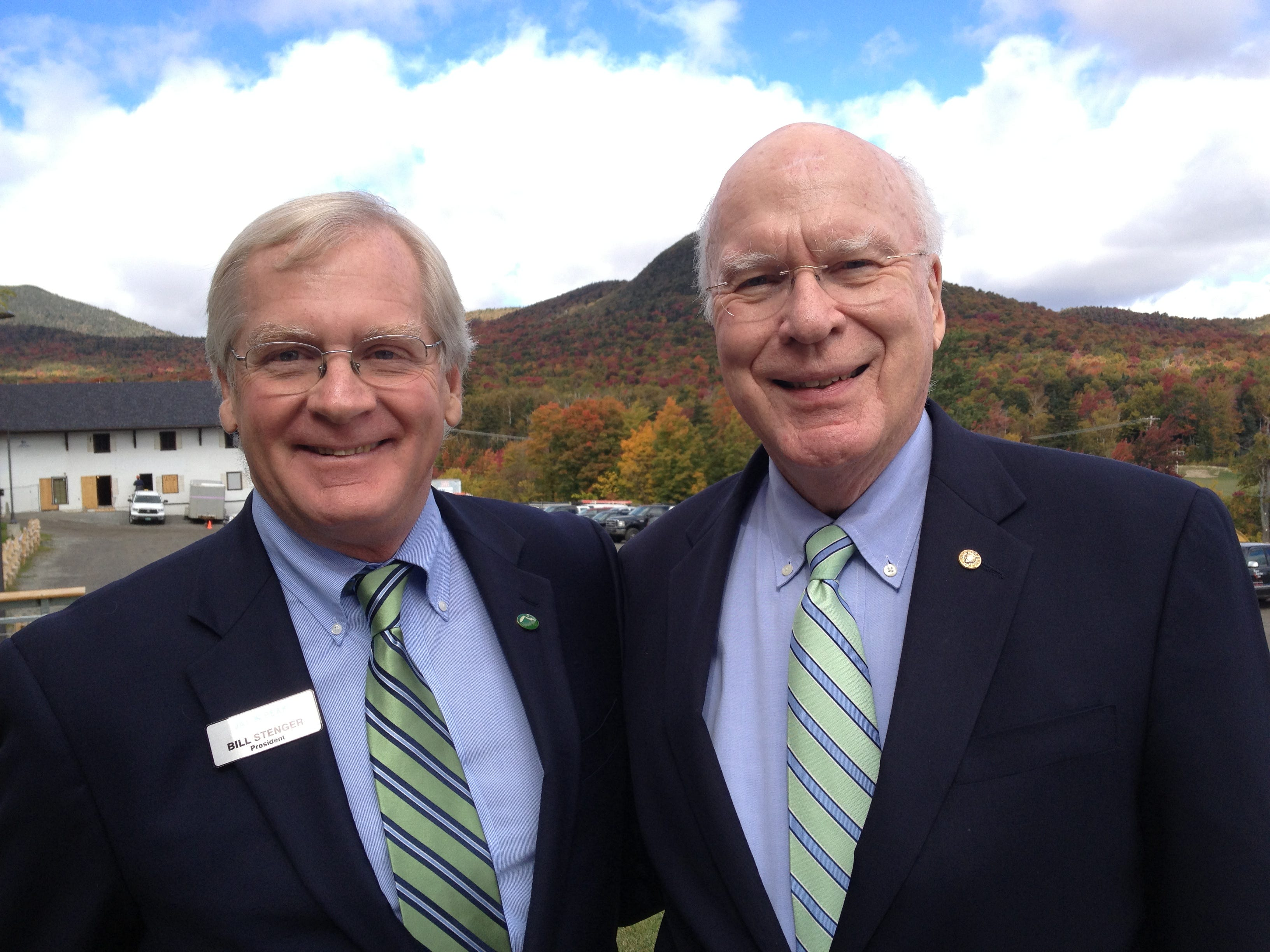 Bill Stenger, left, owner of Jay Peak Resort, and U.S. Sen. Patrick Leahy, D-Vt., pose on Sept. 27, 2012, following the announcement of a $500 million public/private partnership called the Northeast Kingdom Economic Revitalization Initiative. The project includes expansions at Jay Peak and Burke Mountain Resort, revitalization of downtown Newport and expansion of private industry in the fields of biotechnology and window manufacturing.
