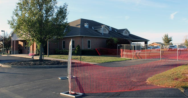 The area where the new addition to the Fairfield Township police station is fenced off.