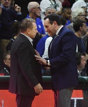 Mike Krzyzewski, right, and the Blue Devils beat Tom Izzo and the Spartans, 87-75, in East Lansing last season.