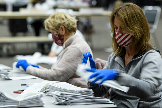 Voter-counters Charlene Adler, front, and Mary Ruthenburg sort through and inspect early voting ballots at Old National Events Plaza in Evansville, Ind., Wednesday afternoon, Nov. 4, 2020. They started sorting through mail-in and early ballots at 7 a.m. until 6 p.m. on Election Day and began working on the remaining ballots at 7 a.m. Wednesday before finishing up around 2 p.m.