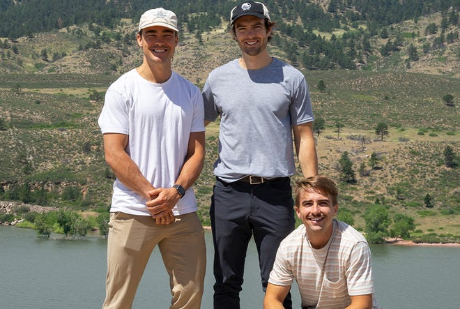 Handoff founders Tommy Riley, left, Miles MacKenzie, middle, and Caden MacKenzie have sold their Denver startup to Encompass Technologies of Fort Collins.