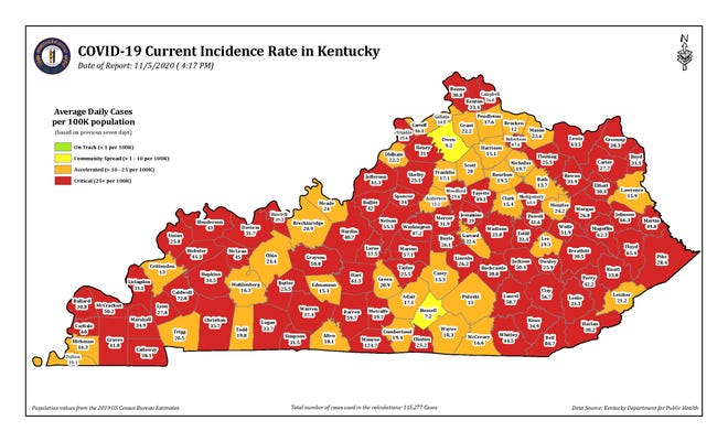 COVID-19 Current Incidence Rate Map for Kentucky as of Thursday, Nov. 5.