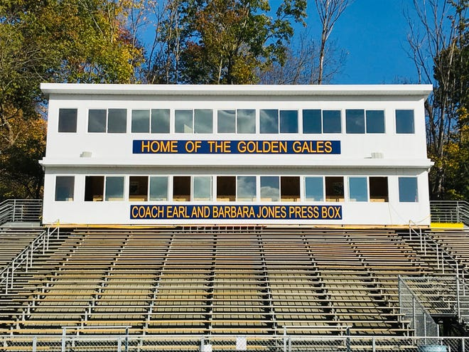 The new Fulton Field press box was completed this fall and was named after former Lancaster football coach Earl Jones and his wife, Barbara.