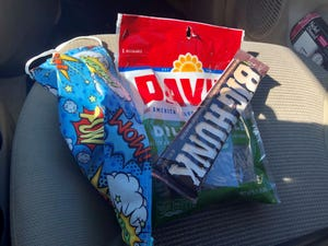 I went with my favorite – dill-pickle sunflower seeds – and a Big Hunk. (Sweet AND savory.)