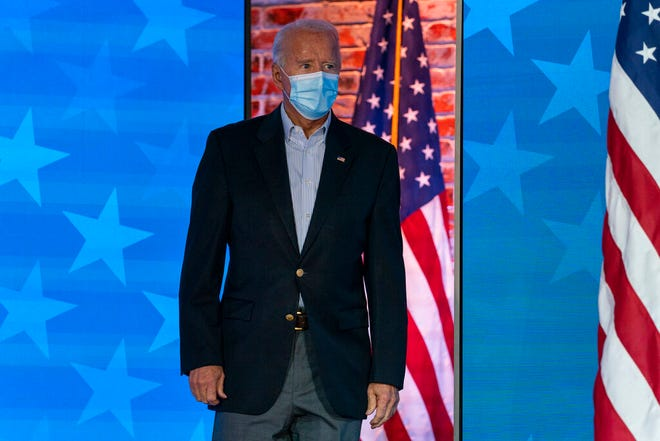 Democratic presidential candidate former Vice President Joe Biden arrives to speak at The Queen theater Thursday, Nov. 5, 2020, in Wilmington, Del. (AP Photo/Carolyn Kaster)