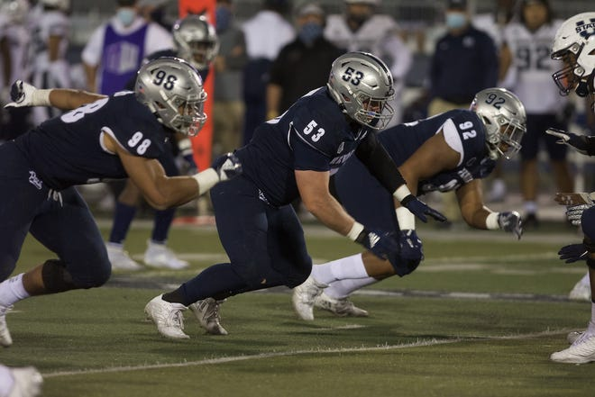 Reno High graduate Zak Mahannah was in on three tackles, one for loss, in Nevada's 34-9 win over Utah State on Thursday night at Mackay Stadium.