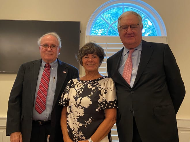 Christian Hendricks (from left), Mary Alice Smith and John McCord were sworn in Thursday, Nov. 5, 2020, to the Indian River Shores Town Council.