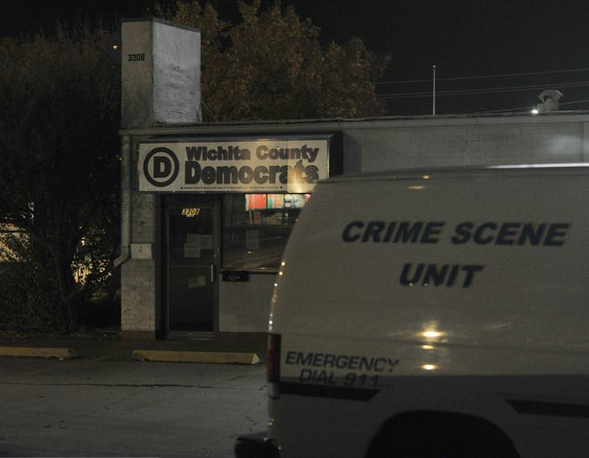 Wichita Falls police investigate a reported burglary at the Democratic Headquarters on Kemp Blvd Thursday night.