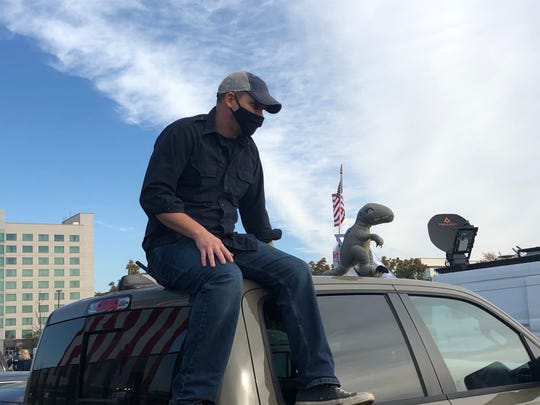 Thomas Kunish, 40, who drove to Wilmington, Delaware, was among the Joe Biden supporters who gathered in the parking lot of the Chase Center on Nov. 6, 2020 as it became clear Biden was on the verge of clinching victory in the presidential race.