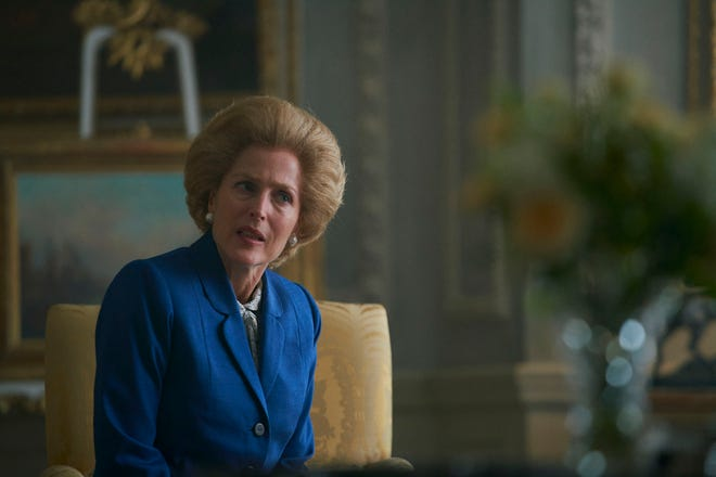 """Margaret Thatcher (Gillian Anderson) has a private audience with the Queen in Season 4 of """"The Crown."""""""