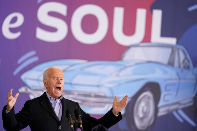 Former Vice President Joe Biden speaks at a rally at Cleveland Burke Lakefront Airport on Monday, the eve of an Election Day in which he lost Ohio by 8 points to President Donald Trump.