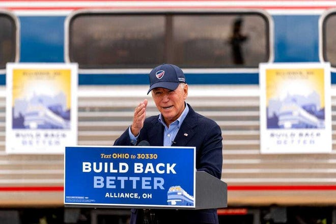 Former Vice President Joe Biden speaks at Amtrak's Alliance Train Station on Sept. 30 in Alliance on a train tour following the debate with President Donald Trump in Cleveland.