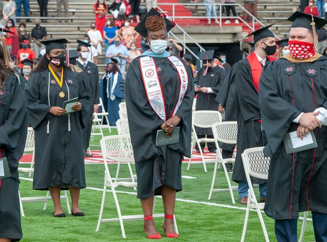 Graduates practiced social distancing during the commencement ceremony for Nicholls State University's Class of 2020 on Saturday. The ceremony was originally scheduled for last May, but postponed due to the pandemic.