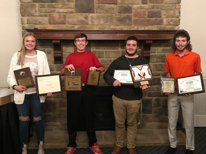 The Meadowbrook Golf Banquet was held at the Cambridge Country Club on Wednesday evening. Special award winners: L to R:  Kaylynn Gombeda; Most Improved : Cole Eltringham; Medalist and All-Eastern District Honorable Mention; Alex Dennis; Academic All-Ohio; Trent McManes; Academic All-Ohio. Meadowbrook finished the 2020 golf season with a 15-13 dual match record, a 14-19 MVL record, and a 56-101 overall record.  The Colts finished 6th in the Division II Sectional at the Cadiz Country Club.