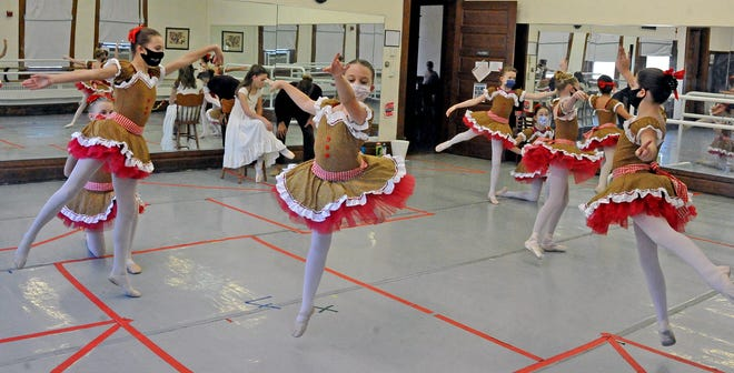 "The Mother Ginger group of ballet dancers does a quick run-through of ""The Nutcracker"" in costume. The production, which is virtual this year, will be broadcast Dec. 5."