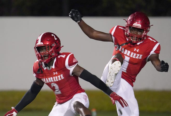 Seabreeze's Amir Brown (2) celebrates a touchdown during the regular-season finale Nov. 6, 2020, against DeLand. Brown scored two touchdowns for the Sandcrabs on Friday night, Nov. 13, 2020, against visiting Gulf Breeze at Daytona Stadium in Daytona Beach. Seabreeze won the Battle of the Breezes, 21-20, in overtime in a Region 1-6A playoff game. In addition to the touchdowns, Brown scored the game-winning two-point conversion.