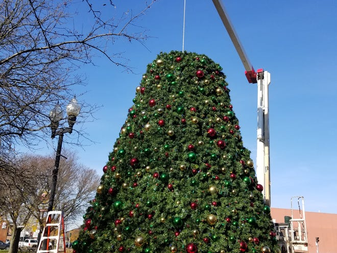 Hornell's Christmas tree takes shape on Main Street.